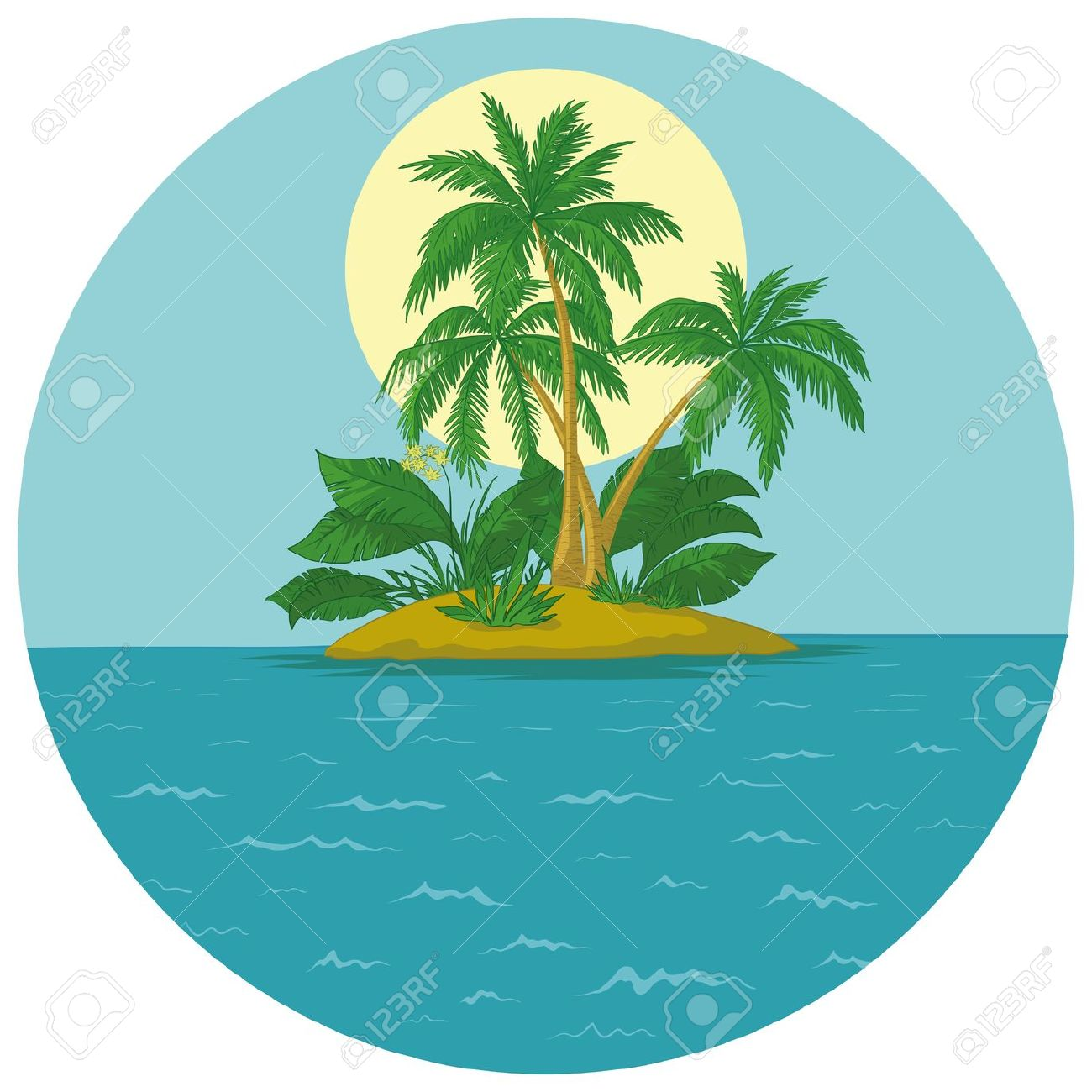 Tropical Sea Island With Palm Trees And Sun Royalty Free Cliparts.