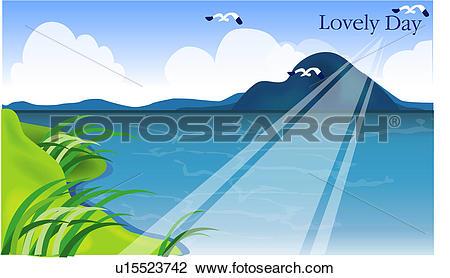 Clip Art of outdoors, summer, ocean, sea, island, landscape.