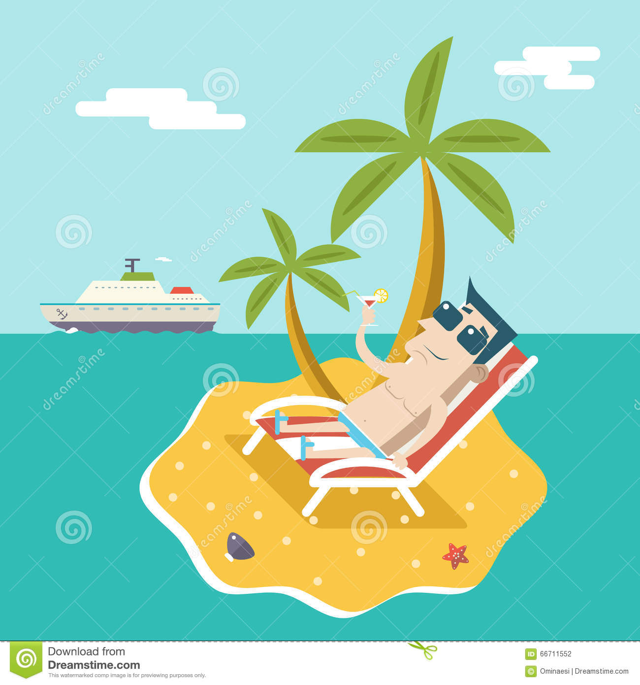 Cartoon Man Character Summer Travel Vacation Sea Island Mobile.