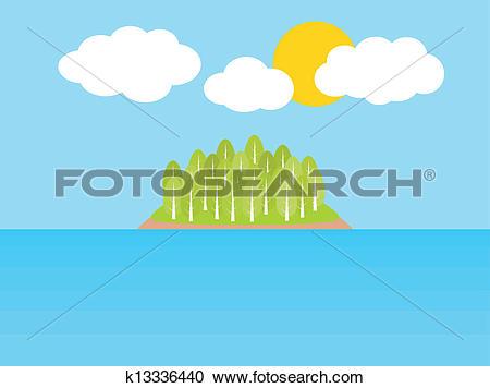 Clipart of Sea island summer vacation k13336440.