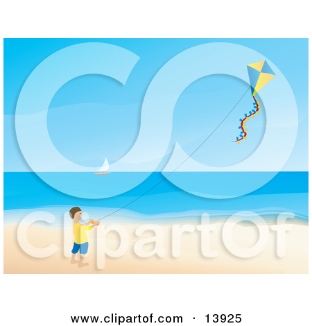 Happy Little Boy Flying a Kite on a Beach Clipart Illustration by.