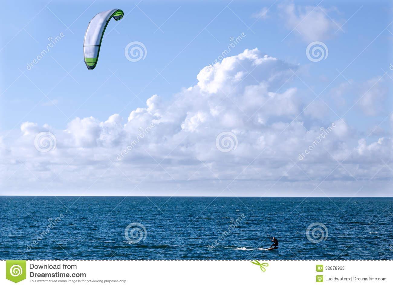 Kite Boarding Sea Sport Stock Photos.