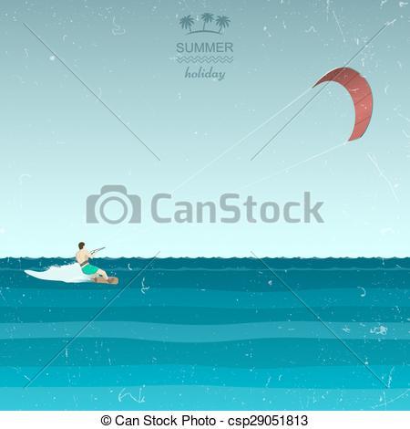 Vector Clip Art of Kitesurfing illustration in retro style. Kiting.