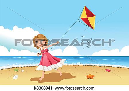 Clipart of Girl flying kite k8308941.