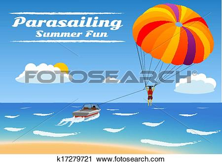Clipart of Parasailing.