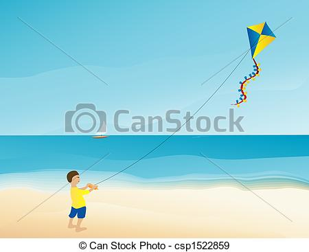 Stock Illustration of Boy flying kite on the beach.