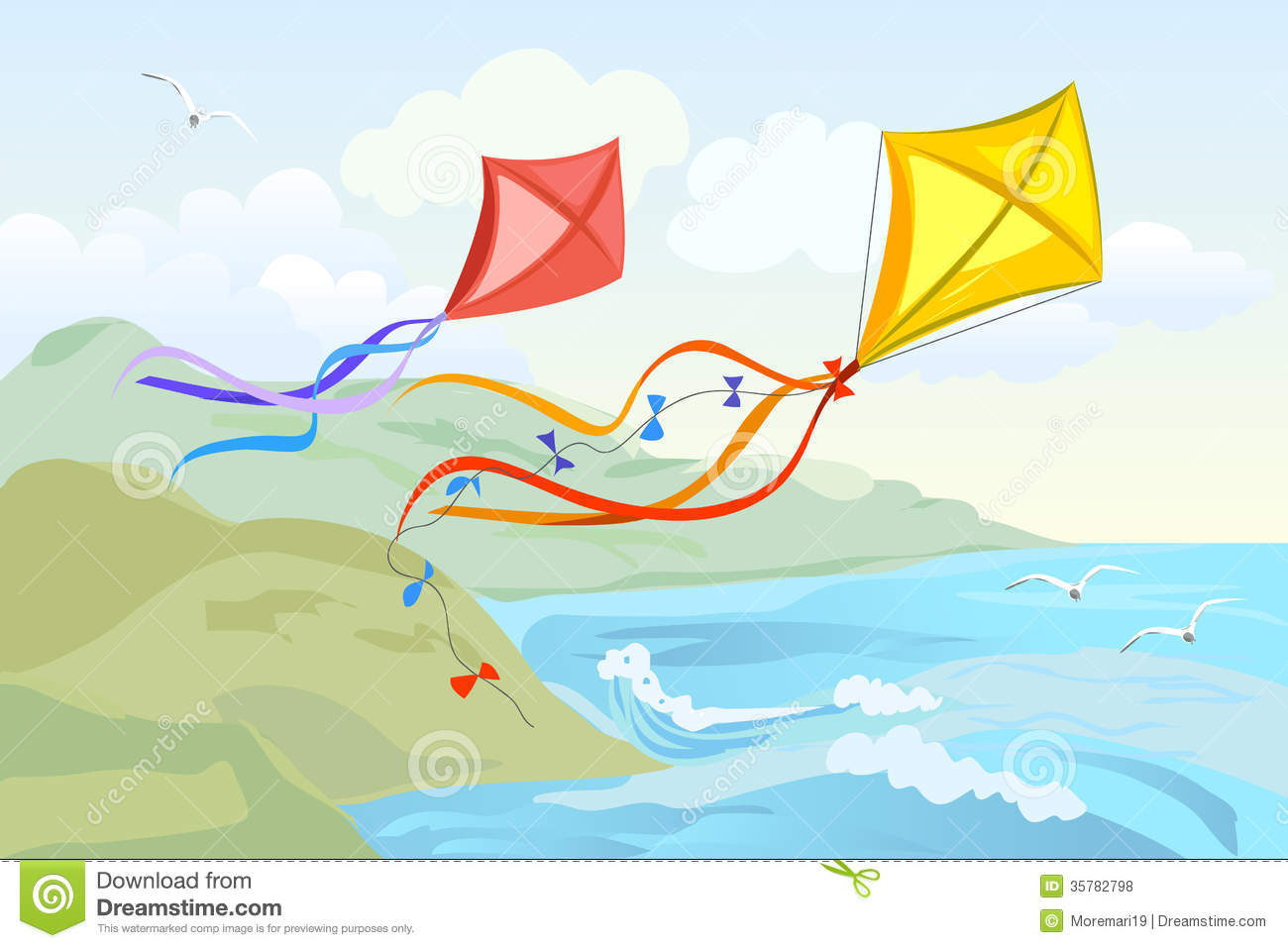 Kite Flying Over The Sea Royalty Free Stock Photos.