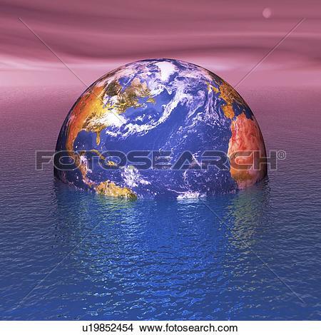 Stock Photo of Rising sea levels, conceptual artwork u12966452.