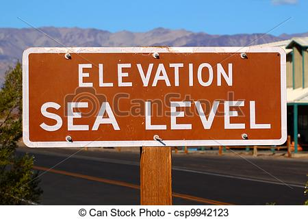 Stock Photos of Elevation Sea Level Sign.