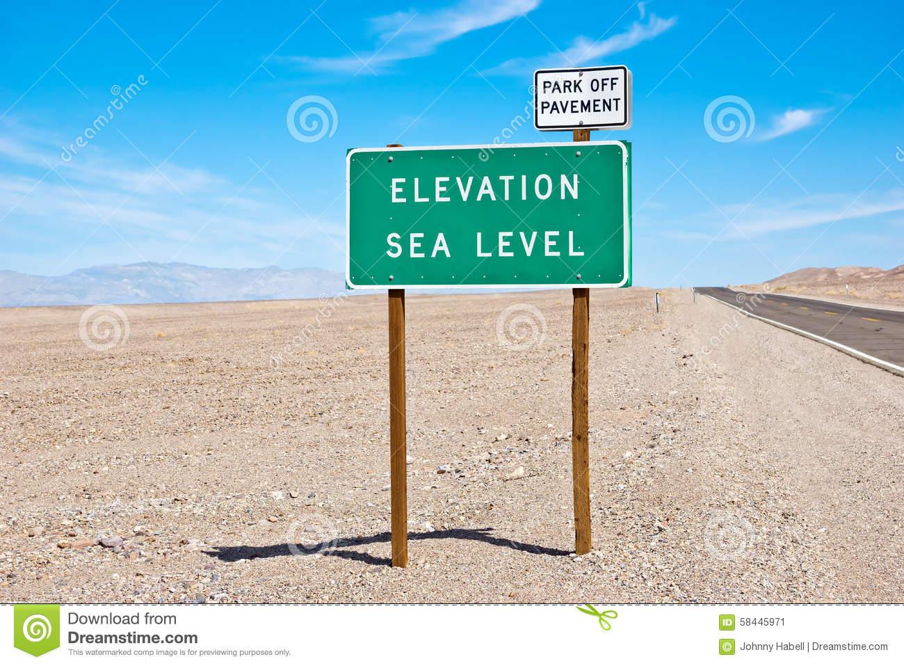 Sea Level Sign Stock Photo.