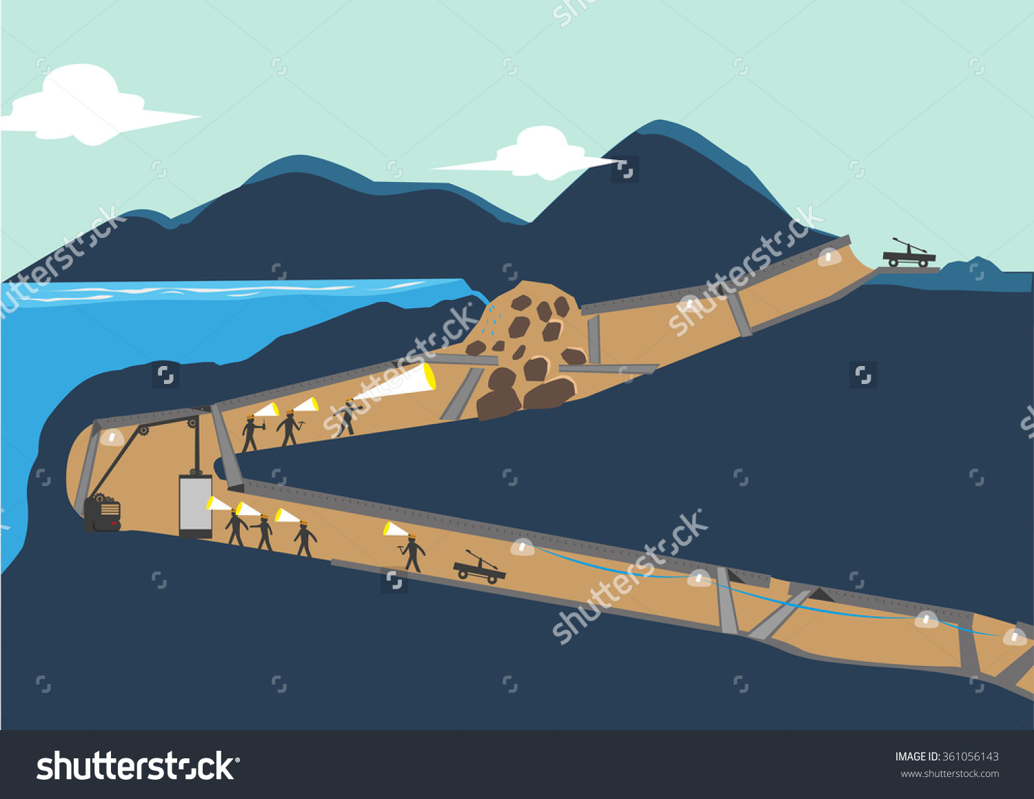 Miners Trapped Underground Below Sea Level Stock Vector 361056143.