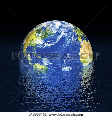 Stock Photo of Rising sea levels, conceptual artwork u19852454.