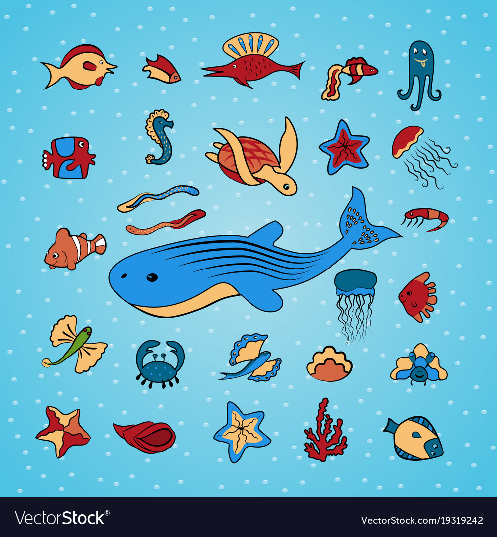 Clip art with marine life.