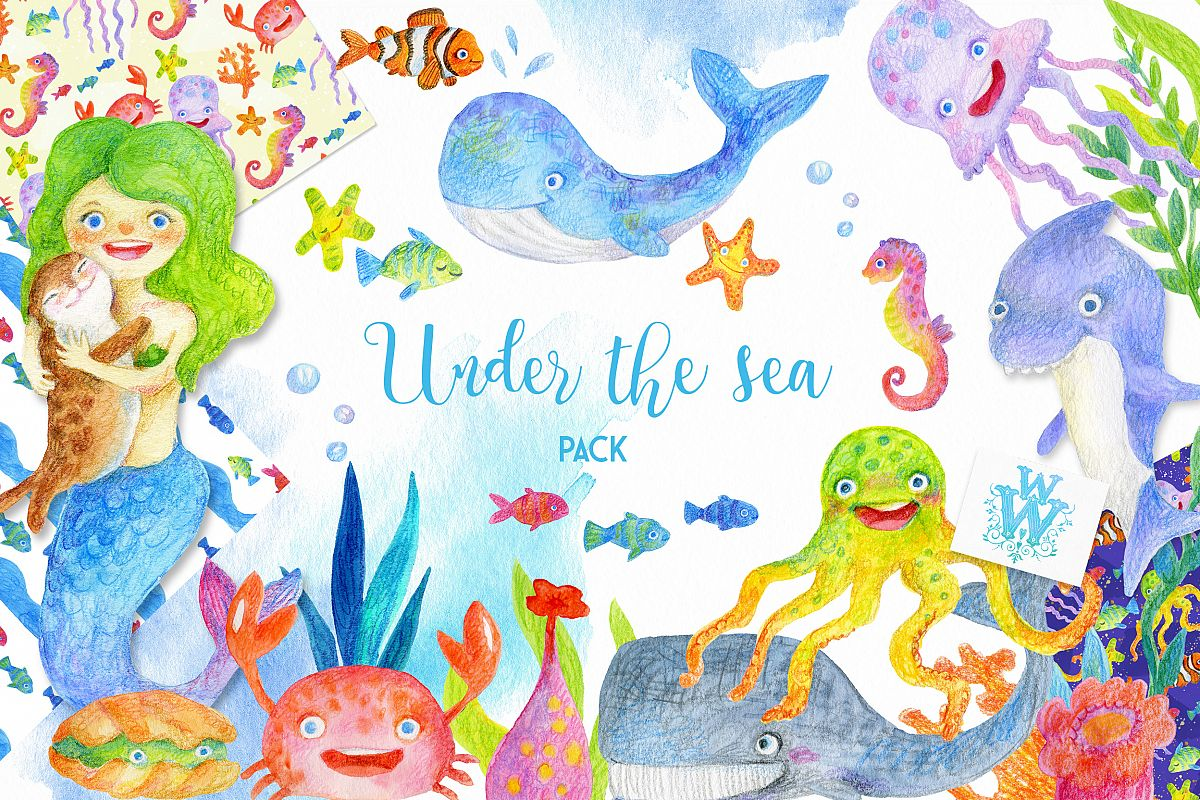 Watercolor Sea creatures clipart, ocean animal clip art.