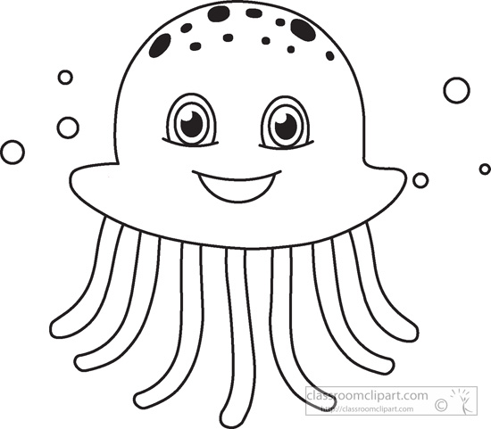 Sea Life Clipart Black and White.