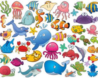 Cartoon Sea Creatures Clipart.