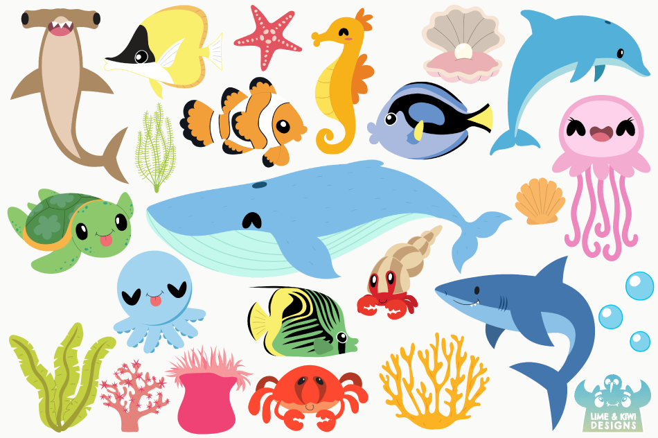 Sea Life Clipart, Instant Download Vector Art By Lime and.