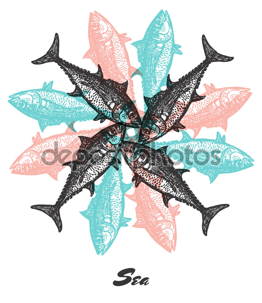 Vector Sea mood Engraved fractal outlet composition. — Stock.
