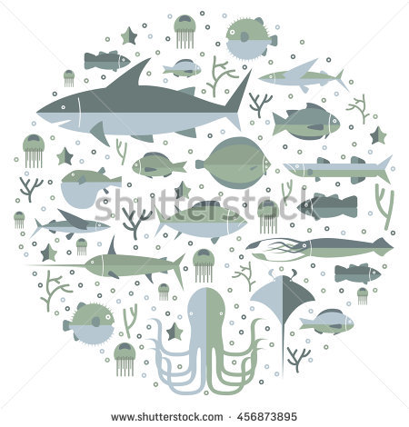 Underwater Life, Collection Fishes And Nature Objects, Ocean And.
