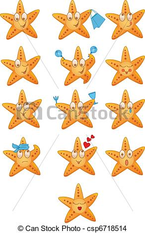 EPS Vector of Sea stars icons set with different mood csp6718514.