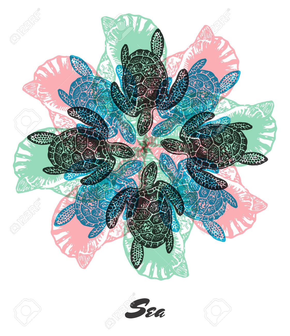 Vector Sea Mood Engraved Fractal Outlet Composition. Bright.