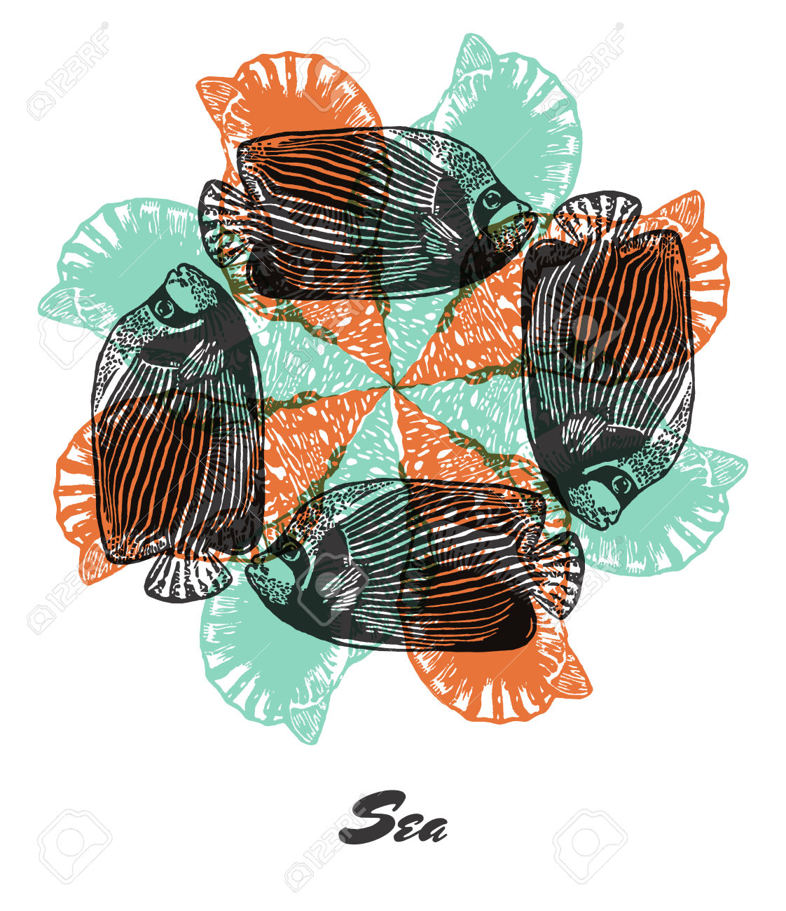 Vector Sea Mood Engraved Fractal Outlet Composition. Bright.