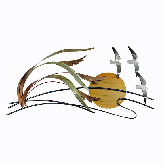 Sea Gulls and Sea Oats Metal Wall Art.