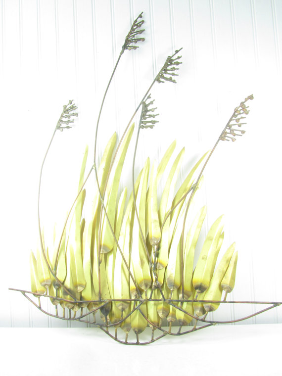 Brass Sea Oat Wall Hanging Metal Sculpture by KarensChicNShabby.