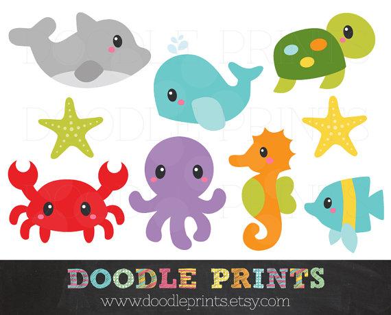 Under The Sea Clip Art, Ocean Digital ClipArt, Bright Cute Fishes.