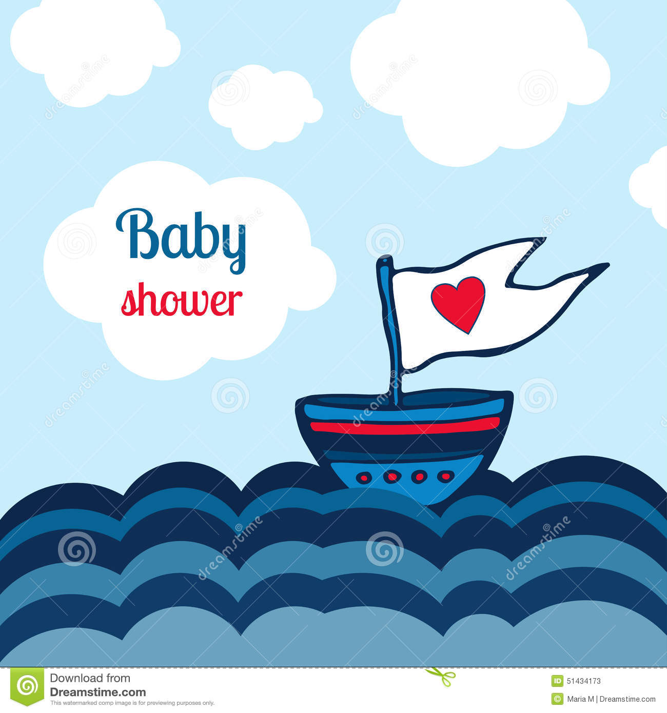 Baby Shower Card With Ship, Sea And Clouds Design. Vector Kids.