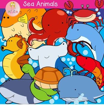 Sea Animals Cute Clip Art.