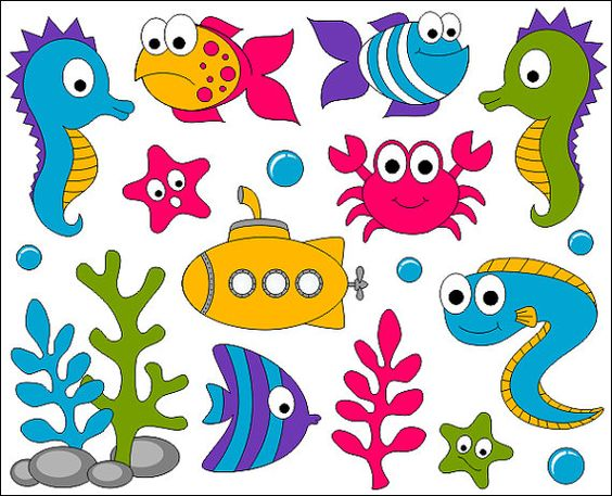 Under The Sea Clip Art, Ocean Digital ClipArt, Bright Cute Fishes.