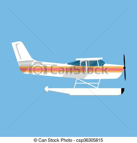 Vector Clip Art of Small amphibian seaplane. plane icon. white sea.