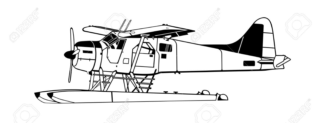 Indiscrete Style Black White Propeller Driven Seaplane Skimmers.