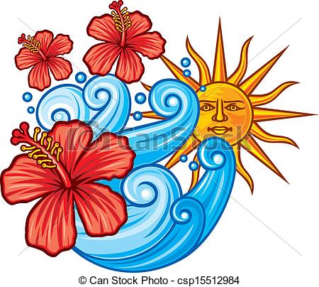 Vector of red hibiscus flower, sea and sun.