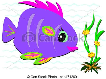 Vector Clip Art of Colorful Fish and Sea Flowers.