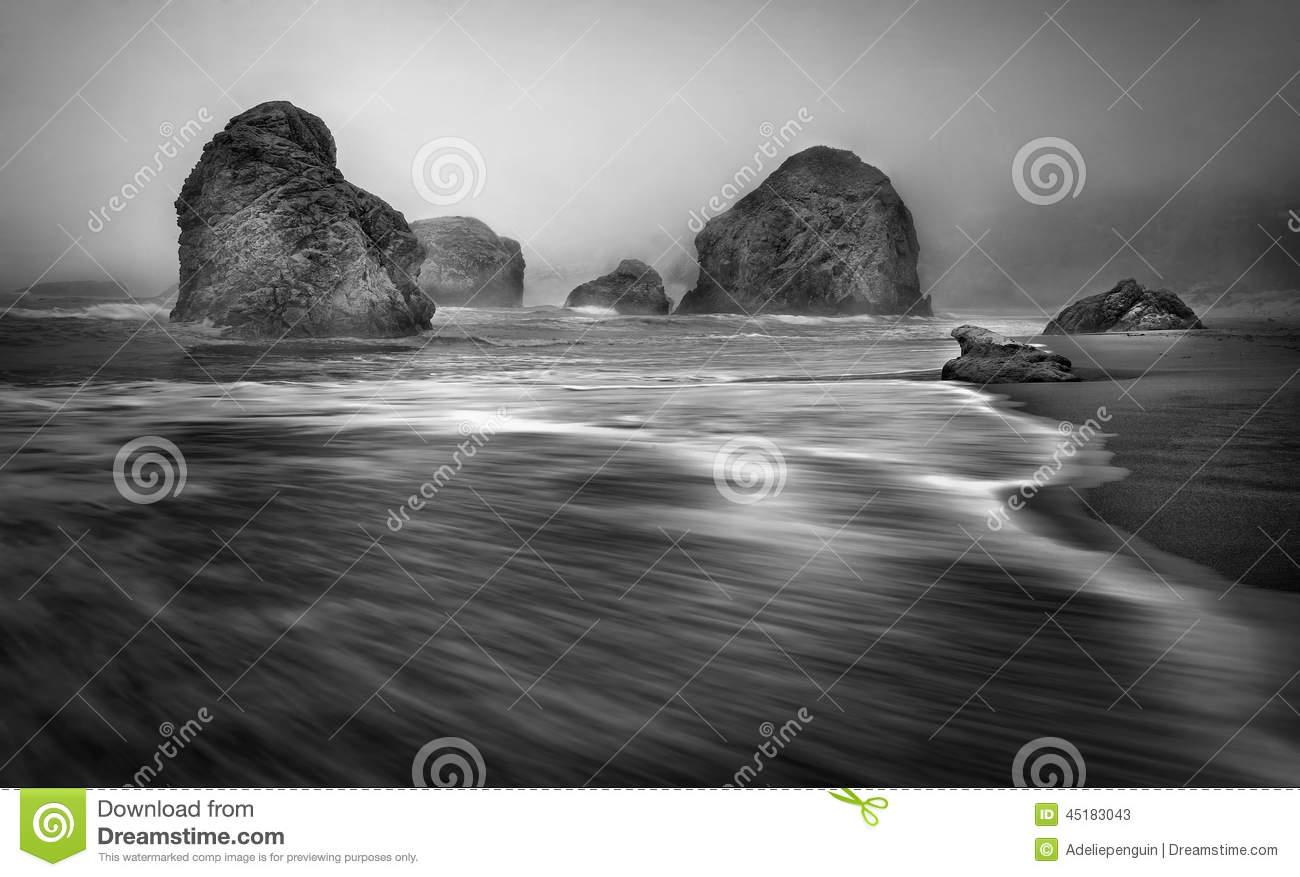 Sea Stacks, Foggy Oregon Coast Stock Photo.