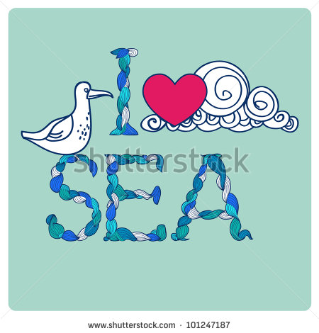 Declaration Of Love By Sea, With Seagull, Heart, And Cloud. Symbol.