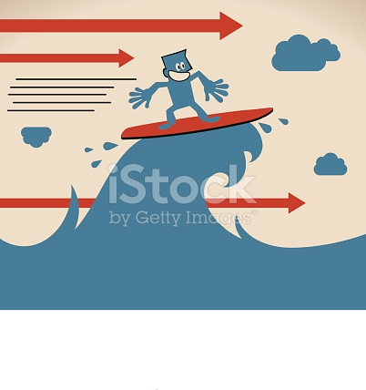 Smiling Businessman Surfing On Sea Wave With Joy And Confidence.