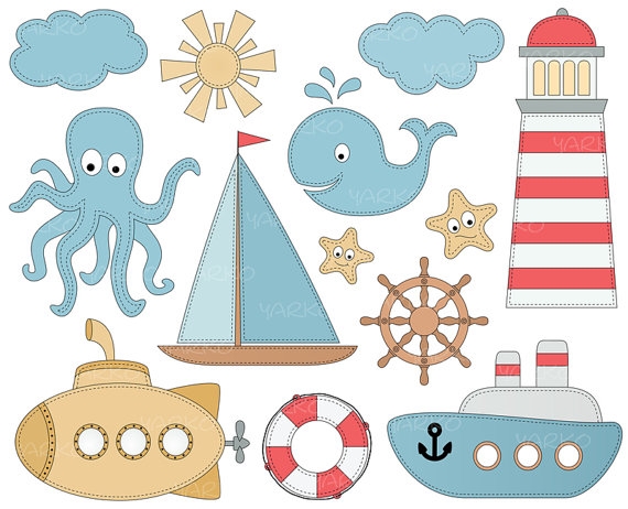 Nautical Clip Art, Sailboat Anchor Clipart, Sea Clip Art, Ocean.