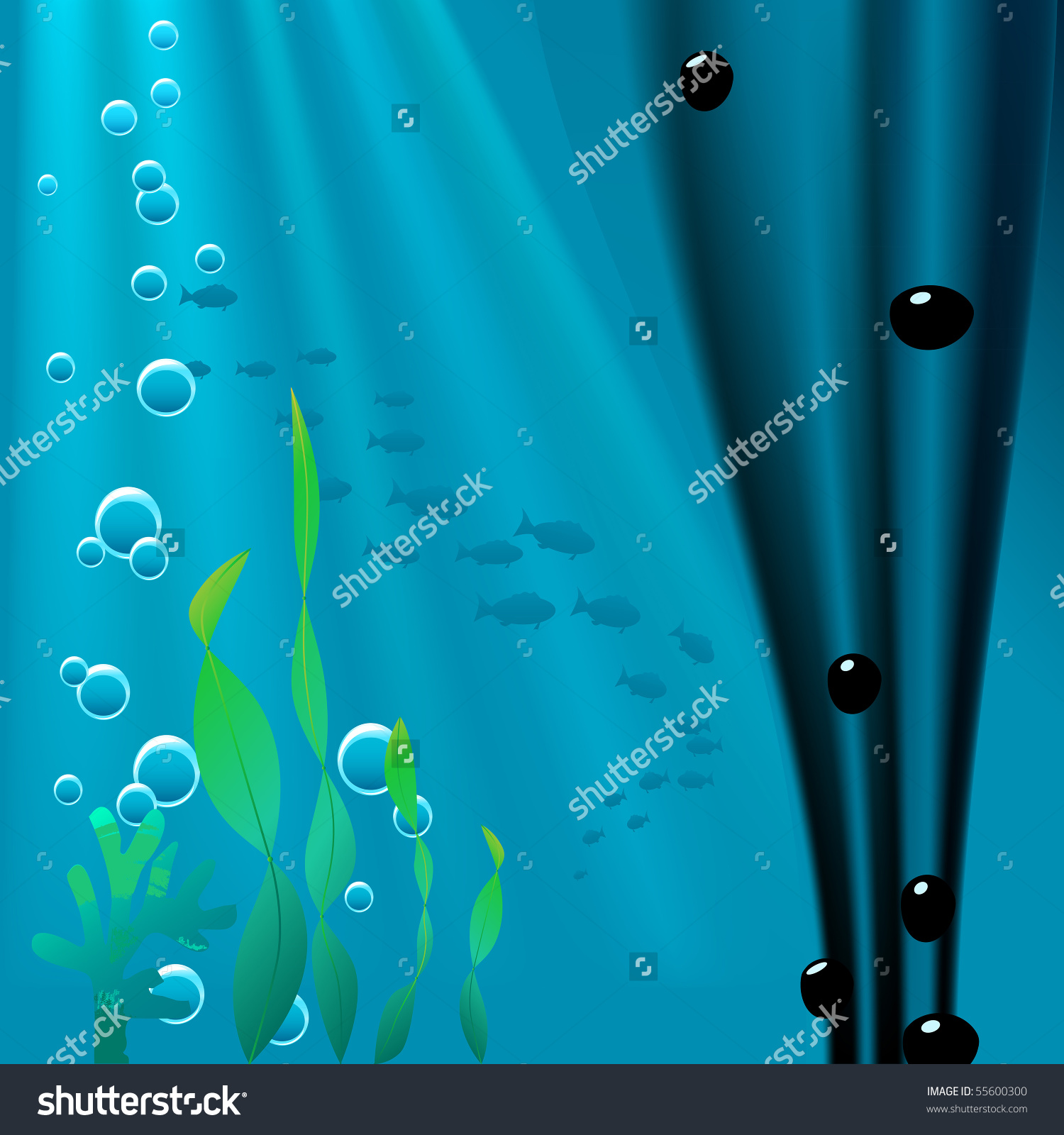 Underwater Scene With Sea Vegetation, Fish, Bubbles And Showing A.