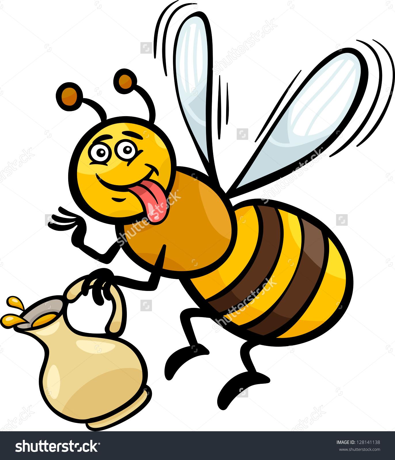 Cartoon Illustration Funny Bee Pot Honey Stock Illustration.