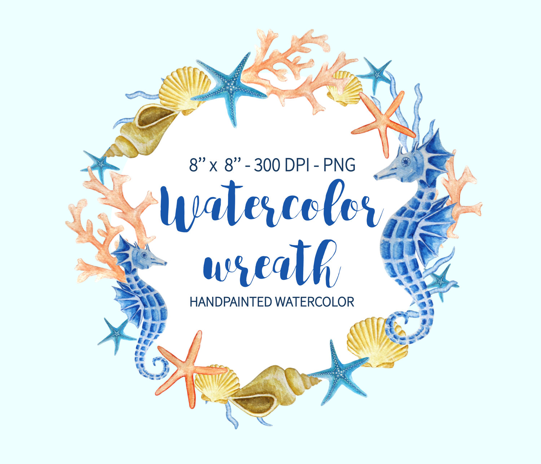 Watercolor Wreath Clipart, Sea Clipart, Ocean Wreath, Seahorse.