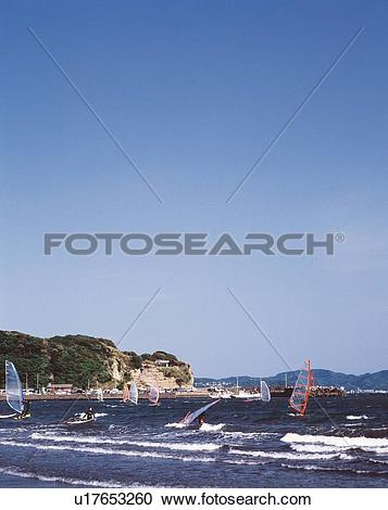 Stock Photography of Sailboards in the Ocean, Koshigoe Beach.