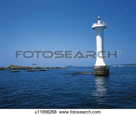 Pictures of Lighthouse in the Sea, Shonan, Kanagawa Prefecture.