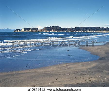 Stock Photo of Zaimokuza Beach, Shonan, Kanagawa Prefecture, Japan.