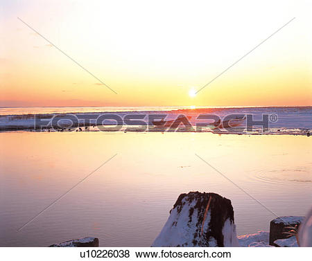Pictures of winter, landscape, sea, sun, sunrise, scenery, nature.