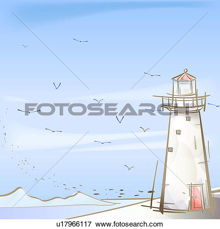 Stock Illustration of seashore, season, sea, snow, winter, seagull.