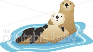 Sea Otter Family Clipart.