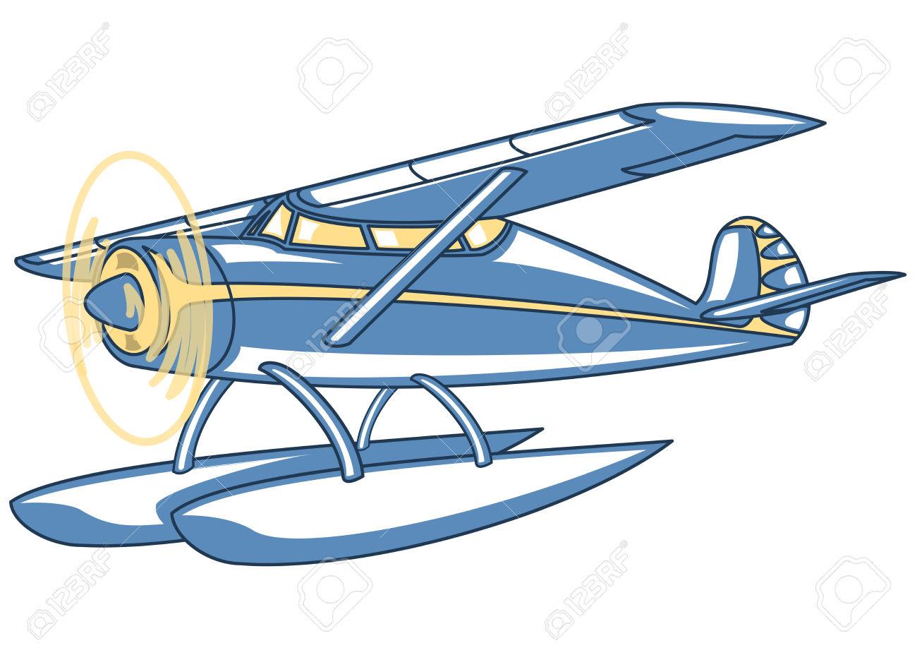 Vector Retro Seaplane. Illustration Clip Art Royalty Free Cliparts.